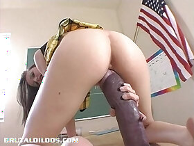 dildo porn - Hailey Young stretches her pussy with monster dildo