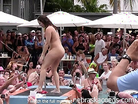 contest porn - wild milfs stripping naked in pool hot body strip contest