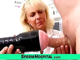 blonde porn - Blonde lady doctor Koko old with her young CFNM exam and handjob