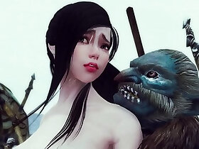 animation porn - Sexy enchantress and mage caught and gangbanged by monsters Skyrim Hentai