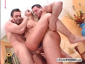 babe porn - Two guys with big cocks fuck two horny babes HC