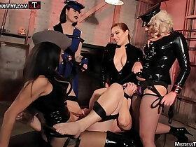 banged porn - Femdom gang bang four gorgeous Dommes