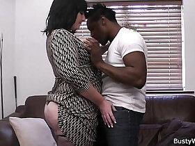 black porn - Busty lady boss in fishnets loves black meat