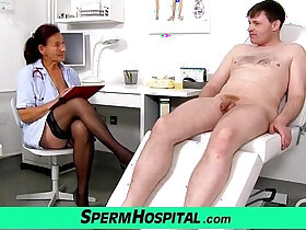 cum porn - Old grandma doctor Linda stockings and young patient handjob