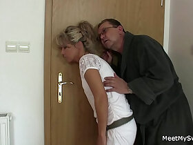 3some porn - His old parents tricks her into threesome