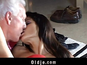 doll porn - Grey oldman receives a real doll to fuck for Christmas