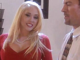 car porn - Kagney Linn Carter in red top and stockings sucking fucking in office