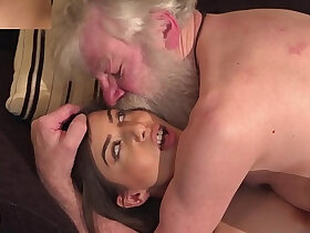 grandpa porn - White hair old man fucks rubs her pussy so tight young hardcore fucking