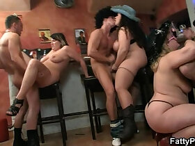 bbw porn - Hot group orgy in the bar