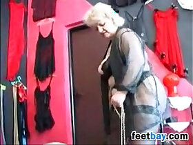 granny porn - Granny Gets Feet Worshipped By A Slave