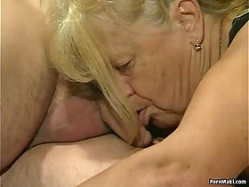 4some porn - Two granny get fucked in foursome action