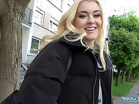 agent porn - Public Agent Hot blonde fucked doggy style in forest for cash