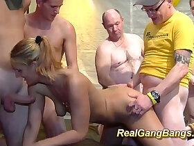bukkake porn - sucking and fucking dongs in gangbang