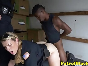 ass porn - Black thug submitted to trio with femdom cops