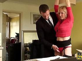bdsm porn - BDSM milf brit instructed to ride by maledom