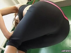 babe porn - Astonishing Japanese babe got horny during the solo fitness training