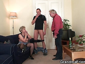 double porn - Old granny double penetration