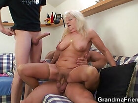 3some porn - Hot 3some with hot blonde grandma