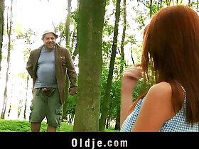 cum porn - Weird old forest man fucks redhead into the woods