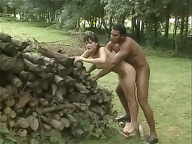 african porn - White brunette is outdoor fucked by a black worker