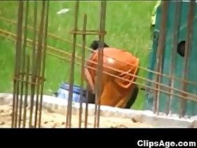 caught porn - Desi woman caught bathing outdoors