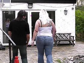 bbw porn - Blonde rides stranger cock