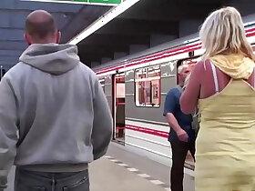 3some porn - A hot blonde with big tits public sex subway train gang bang orgy