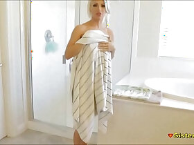 shower porn - Showering Teen Sister Spied Then gets Fucked