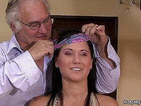 brunette porn - Brunette wife cuckolds her old hubby
