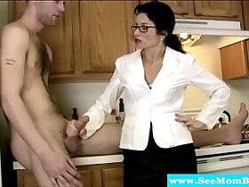 cock porn - Cougar tuggs and blows cock like a pro