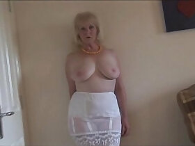 bald pussy porn - Mature lady in stockings and sheer slip strips