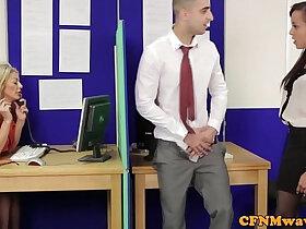 cfnm porn - Femdom CFNM Alyssa Divine rough office affair