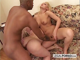 black porn - Two hot blondes play in the shower and then fucked by a black cock SB
