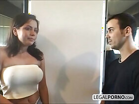 big tits porn - Two sexy with tits fucked by two guys in a gym HC