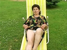 girl porn - Granny Marie gets fucked deep and hard by the pool