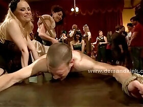 domination porn - Man sex slave in middle of mistress ritual is forced to fuck in sado maso femdom