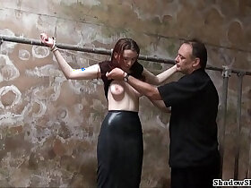 amateur porn - Filthy slaveslut whipping and dirty dungeon tortures of breast spanked amateur