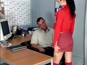 secretary porn - Skinny secretary fucking in knee high stockings