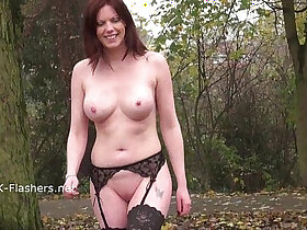 dildo porn - Redhead Holly Kiss flashing in public outdoor dildo masturbation of exhibiti