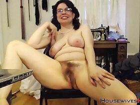 glasses porn - Full bush princess squirter MILF with sexy glasses