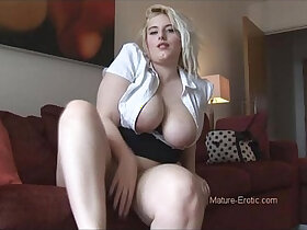 amateur porn - Busty amateur blonde amateur milf in tight skirt and pantyhose
