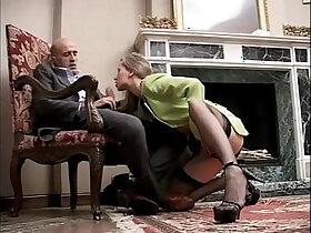 cock porn - Classy and sexy girl in high heels and stockings sucking a cock