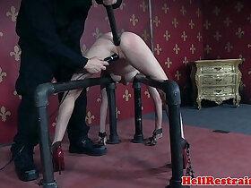 ass porn - Restrained bdsm submissive asshole toyed