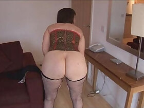 brunette porn - Busty brunette with her hairy wet pussy strips and spreads