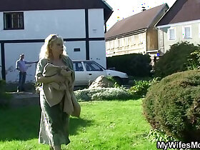 cock porn - Granny rides her son in law cock outdoor