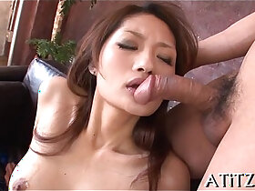 3some porn - Exquisite threesome for breasty oriental
