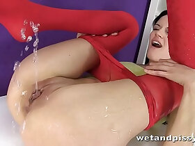 cute porn - Teen cuts open pantyhose and pees on a chair