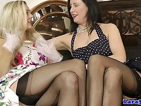 british porn - British glamour MILF in lingerie lez fun